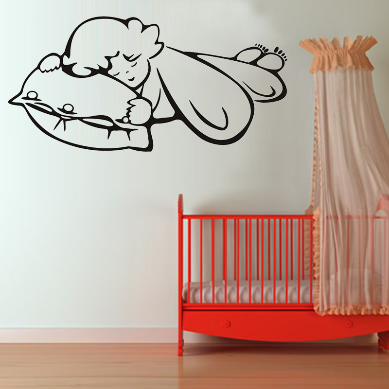 vinyl removable self adhesive sweet sleeping angel wall sticker baby