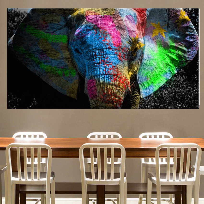 Africa Elephant Animal Landscape Oil Painting on Canvas Pop Art Poster and Print Abstract Art Wall Picture for Living Room Decor