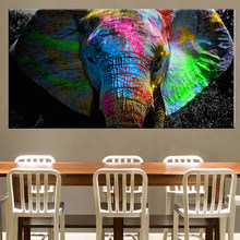Africa Elephant Animal Landscape Oil Painting on Canvas Pop Art Poster and Print Abstract Art Wall Picture for Living Room Decor(China)