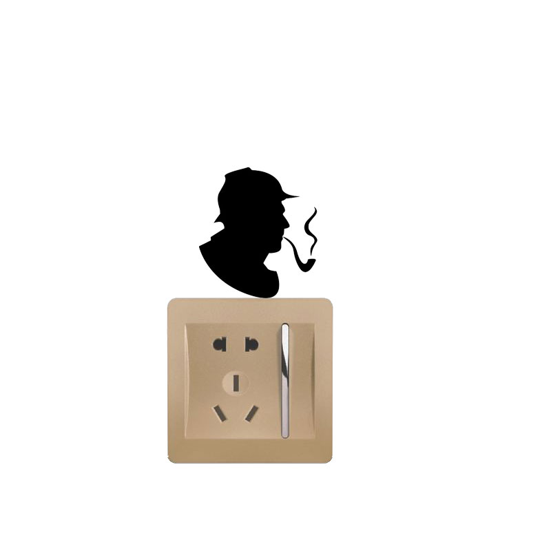 WANGZHIMING Holmes Detective Retro Vinyl Decoration Switch Sticker Children Lightswitch Decals 7SS0896
