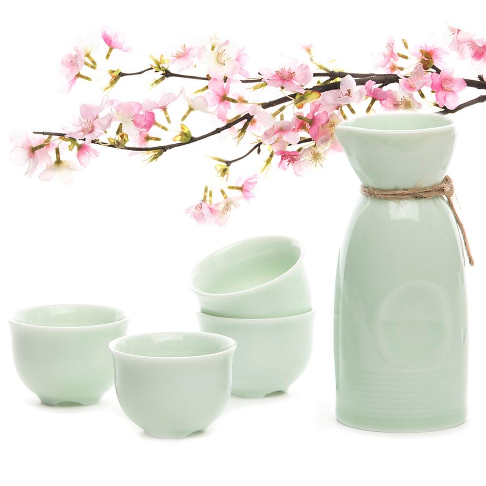 Ankoow 4 Sake Cups + Hrnec Janpanese Keramika Sake Ručně vyráběná keramika Sake Set Wine Pot Sake Wine Outdoor Cup Set