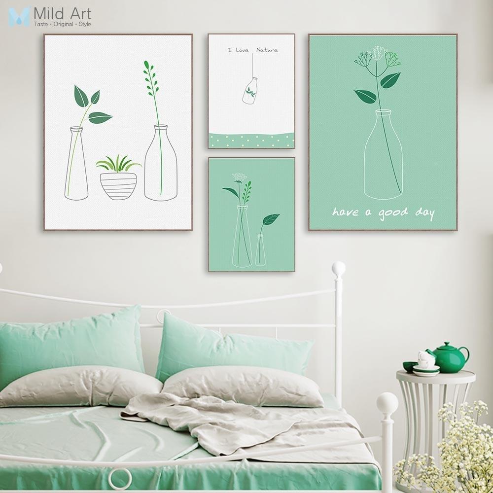 Minimalist Leaf Green Plants Bottle Poster Nordic Living ...