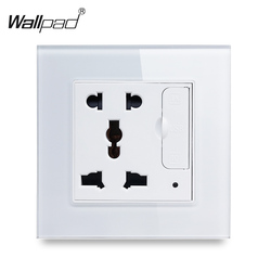 Wallpad S6 White Black Glass Panel Single Universal Socket with 3.1A 2 x USB Charging Port, EU UK US  BS Wall Power Outlet Plate