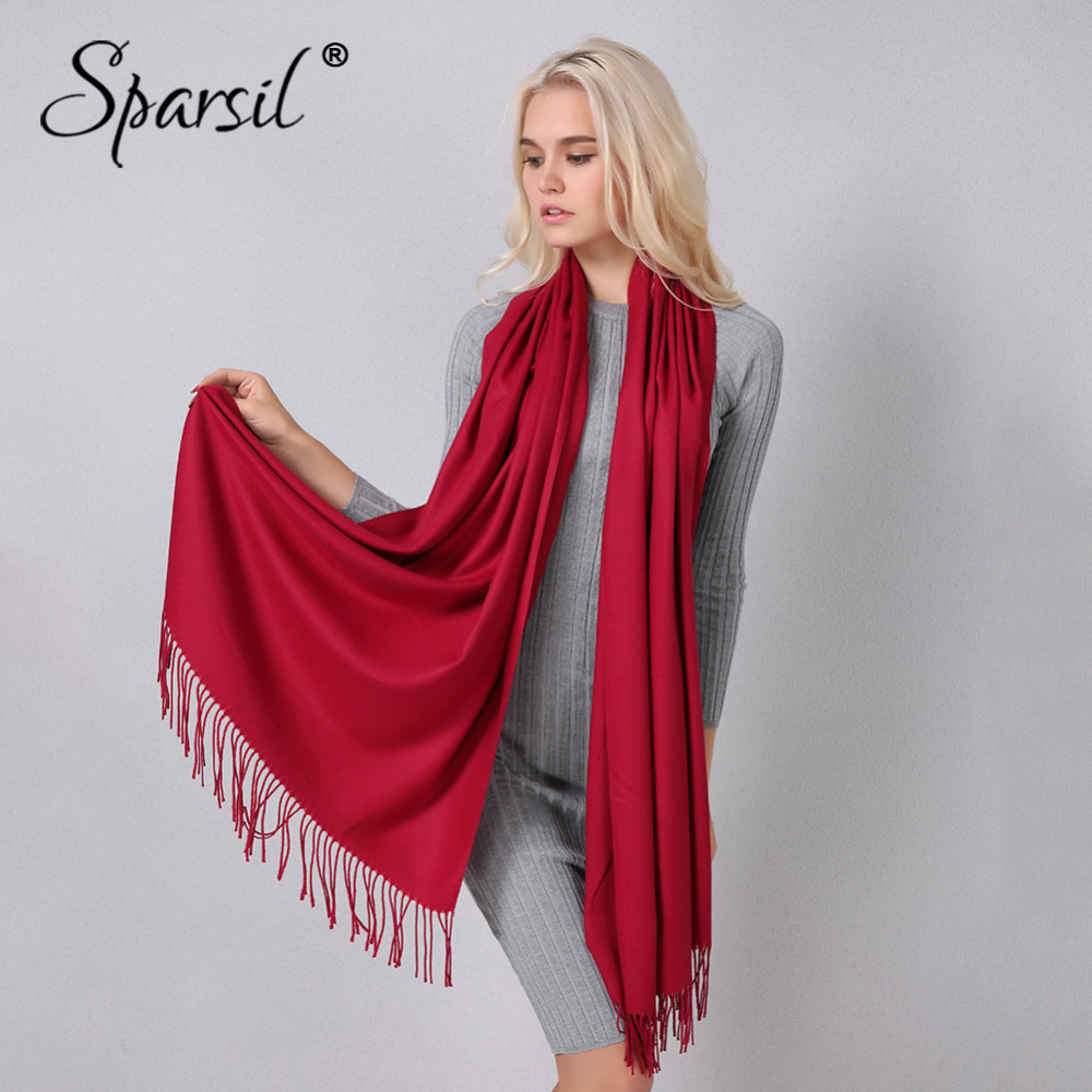 Sparsil Women Winter Solid Tassel   Scarf   Cashmere Warm Pashmina Soft Big Size 205*70 cm Shawls Female Basic   Wraps   Hijab   Scarves