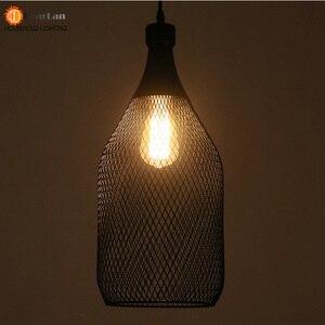 Image 5 - خمر الحديد زجاجة شكل قلادة مصباح e27 حامل مصباح داخلي الأسود قلادة الإضاءة ل بهو/مقهى/الطعام قاعة (DX 50)