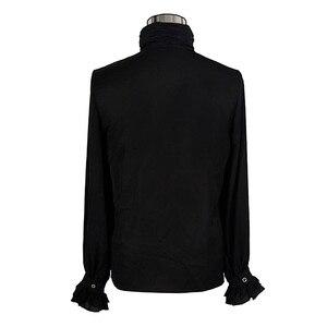 Image 4 - Steampunk Style Men Shirt Gothic Fashion Novelty Single Breasted Chiffon Long Sleeve Male Black Shirt