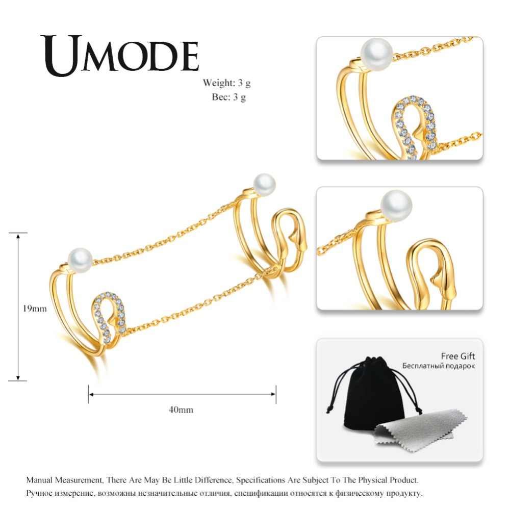 Umode nova moda ouro pérola conjuntos de noiva anéis abertos para festa casamento feminino femme jóias pano acessórios presentes ulr0684