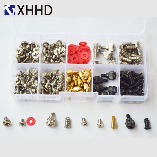 Hard Disk DIY Motherboard PC Personal Computer Assemble Case Fan Hand Screw Bolt Standoff Washer Set Assortment Kit Box 227pcs 3