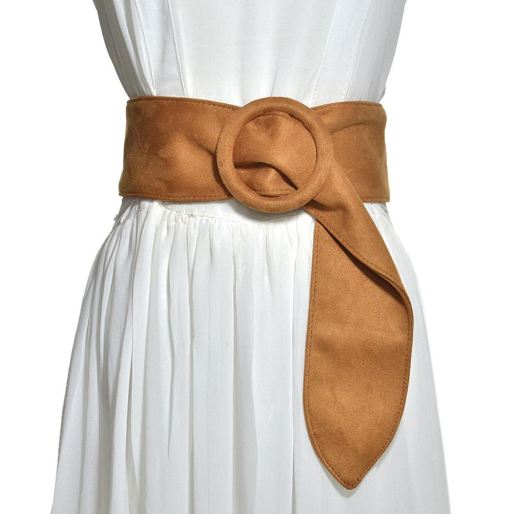 Fashion Women Solid Color Suede Ring Buckle Waistband Belt For Jeans Dress