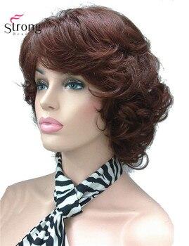 Strongbeauty feminino curto encaracolado resistente ao calor perucas de cabelo sintético auburn escolhas de cor