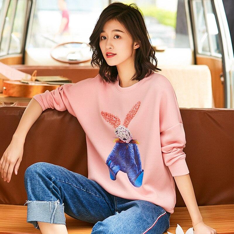 Hiver Chemises Casual Automne Épais Appliques Lapin Mode Longues Nouvelle O cou Pink Tops 2018 De Femmes Manches Arrivée Pull bf7vY6Iyg