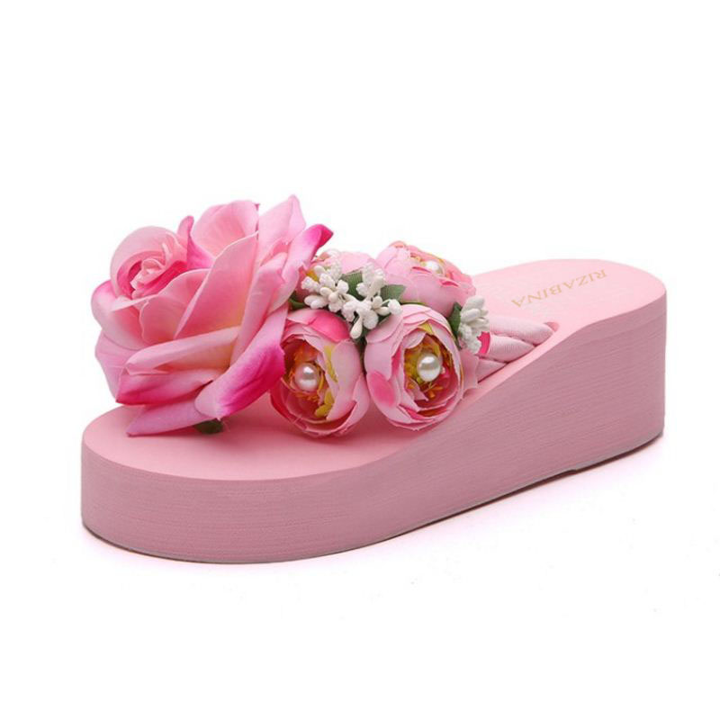 RizaBina Lady Sexy Thick Platform Wedges Heels Shoes Women Trifle Beautiful Flower Soft Flip Flops Beach Slippers Size 35-39