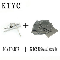 29pcs Universal Direct Heating BGA Stencils Templates Reballing Jig For Chip Rework Repair Soldering Kit