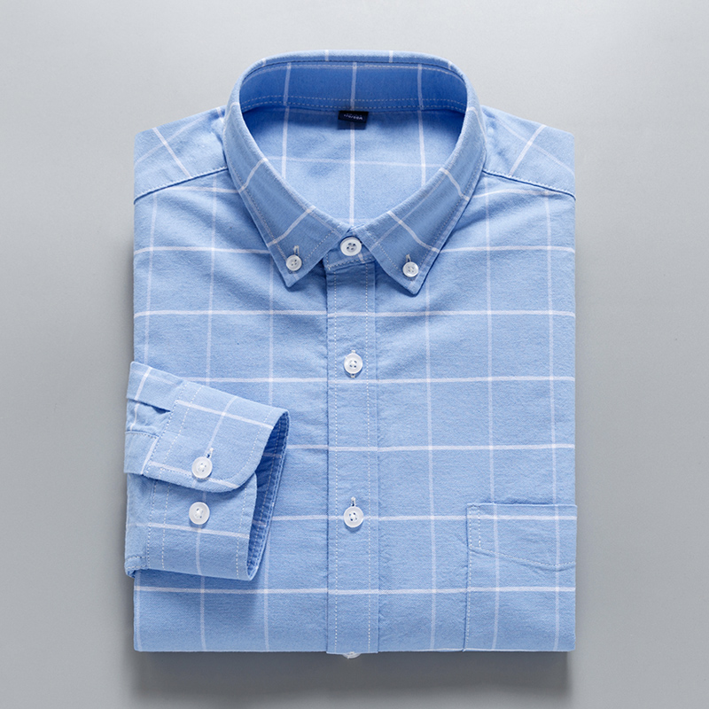Fashion 100% Washed Cotton Soft Comoftable Button Down Collar Long Sleeve Leisure Men Business Casual Plaid Shirts
