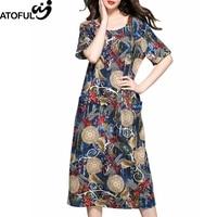 ATOFUL New Vintage Multicolor Print Dragonfly Pattern Dress Short Sleeve Women Dress Loose Casual Dresses Plus