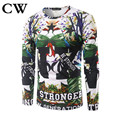 2017  the spring Brand  CW European and American style Men's T-shirt fashion people 3 d digital printing long sleeve T-shirt