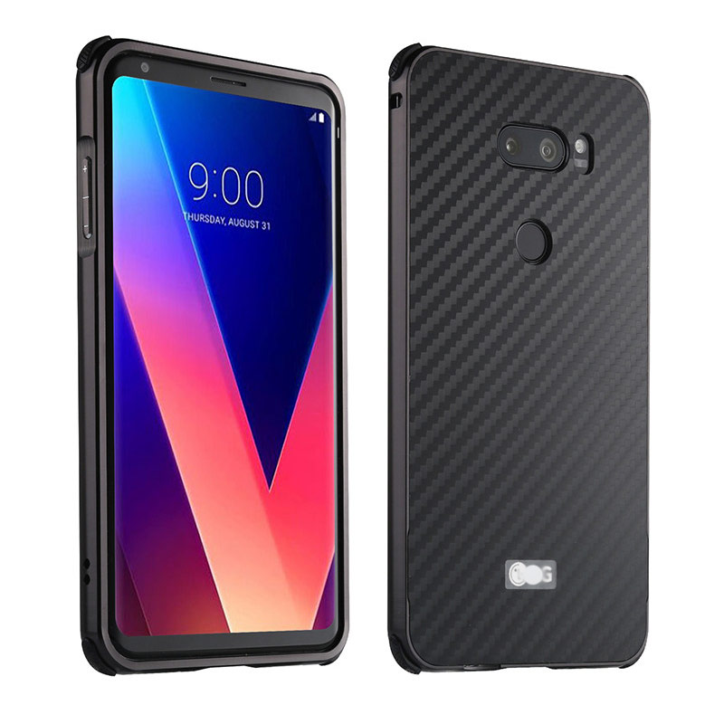 Luxury Carbon Fiber PC Hard Cover For Fundas LG V30 Case For LG V30+ Dual Case V30 Plus Coque Electroplating Metal Bumper Case
