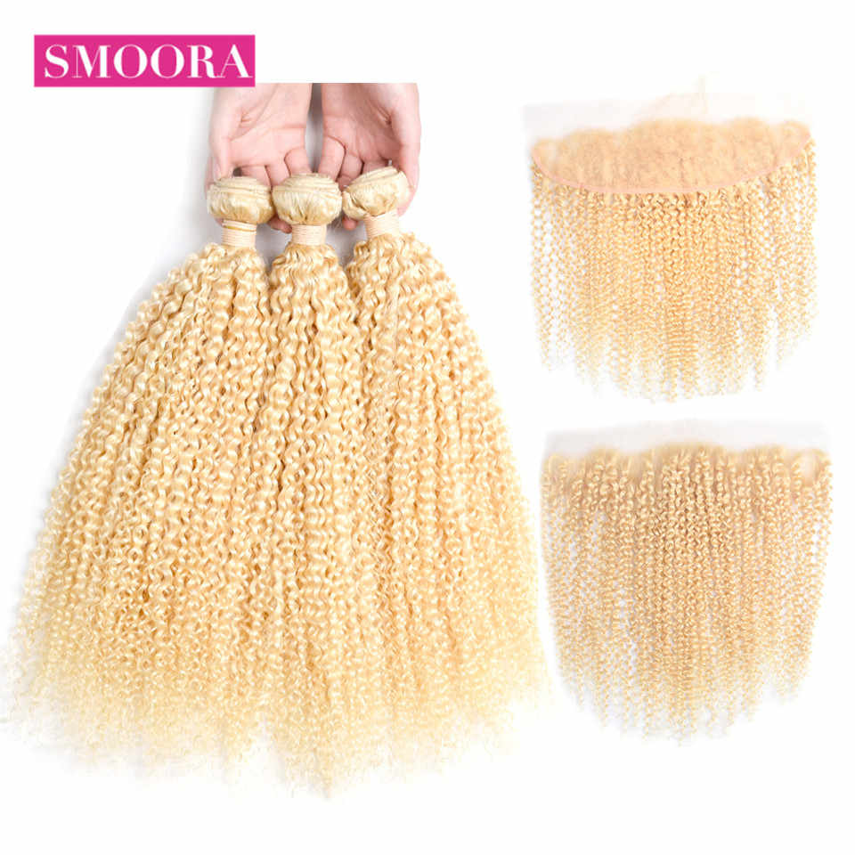 Smoora Malaysian Kinky Curly 613 Blonde Bundles With Closure Ear to Ear 3 Pieces Human Hair Bundles With Lace Frontal Non Remy