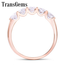 Transgems 1.25 Carat CTW 4mm F Color Solid 14K 585 Rose Gold Half Eternity Wedding Band Moissanite Diamond