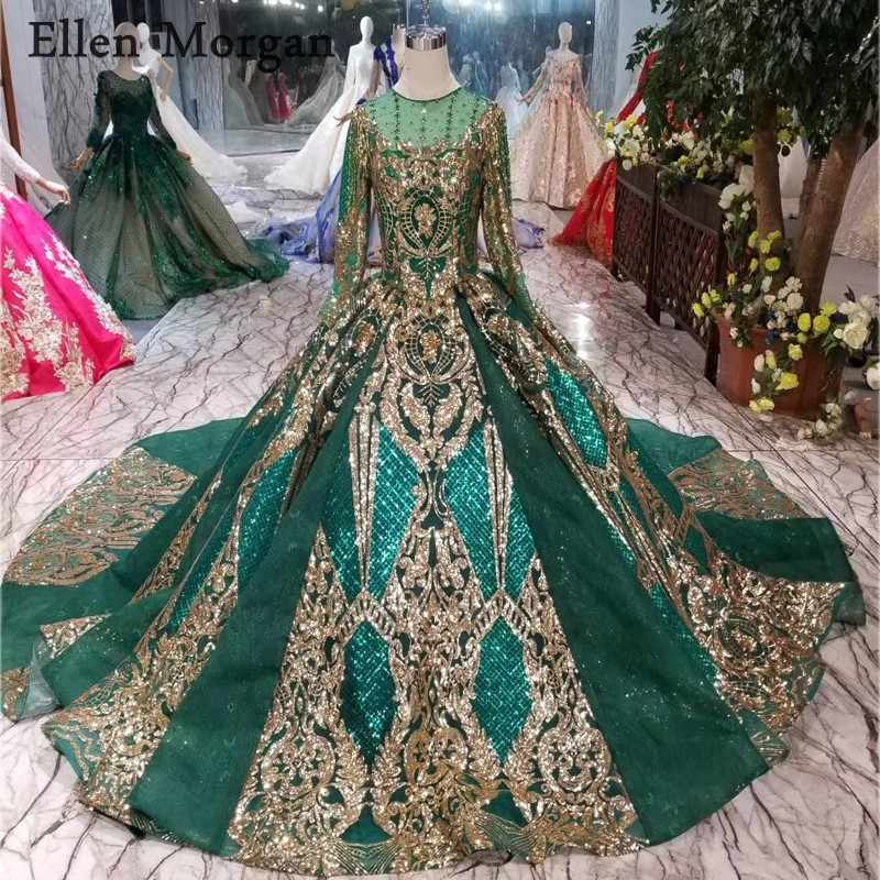 761b3467b101b Colorful Dark Green Lace Ball Gowns Wedding Dresses 2019 Gold Lace ...