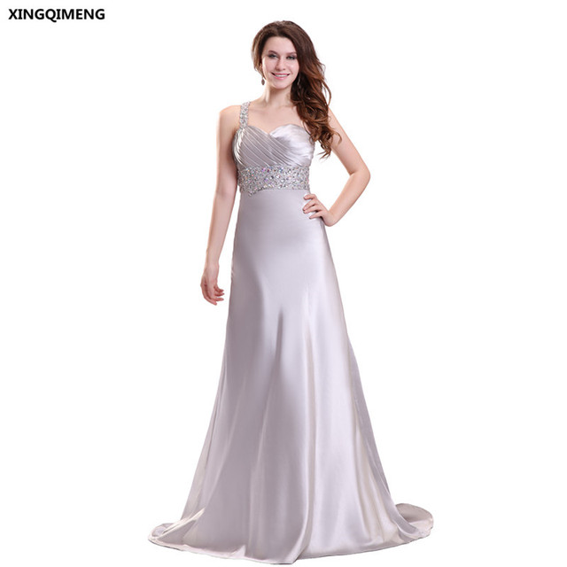 One Shoulder Y Beach Evening Dress Silver Satin Crystal Beaded Backless Formal Dresses Long Chic