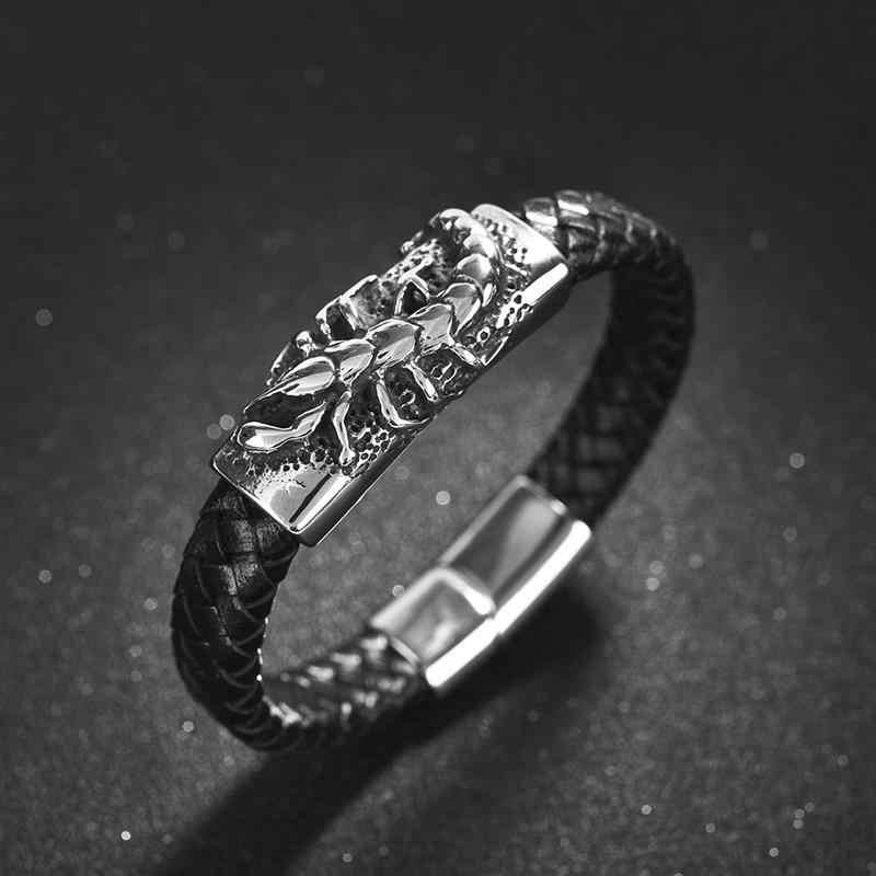 Jiayiqi Unico Scorpion Braccialetto di Cuoio Degli Uomini Punk Gioielli Casual Retro Intrecciato Del Braccialetto Del Catenaccio Magnetico Mens Da Polso Della Fascia Del Partito Regali