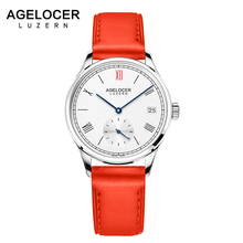 Agelocer Swiss Brand Ladies Watches Automatic Women Watch Red Leather Sapphire Glass Waterproof Mechanical watch Montre