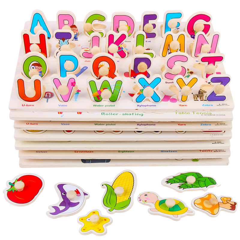 Baby Kids Childrens Education Wooden Puzzle Toys Wooden Learning ABC Alphabet Letter Cards Cognitive Toys Gift