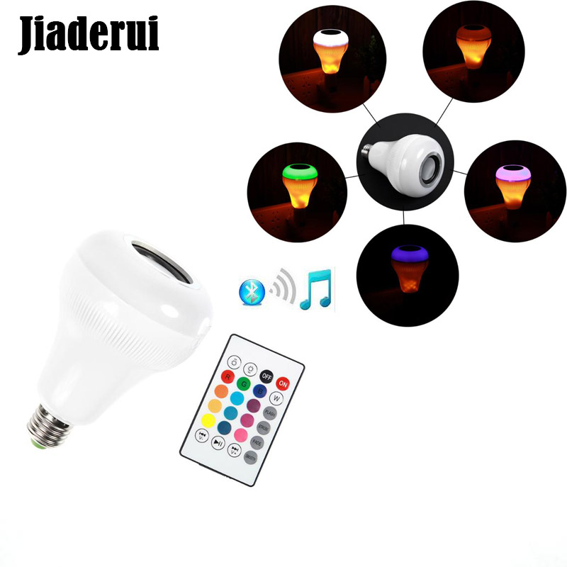 Jiaderui LED Flame Bulb Night Lights With Bluetooth Speaker Remote Control Music Player KTV Stage Lights for iPhone 6s/7/Samsung tanbaby multicolor ocean wave led projector night light with built in music player and remote control for baby kids children