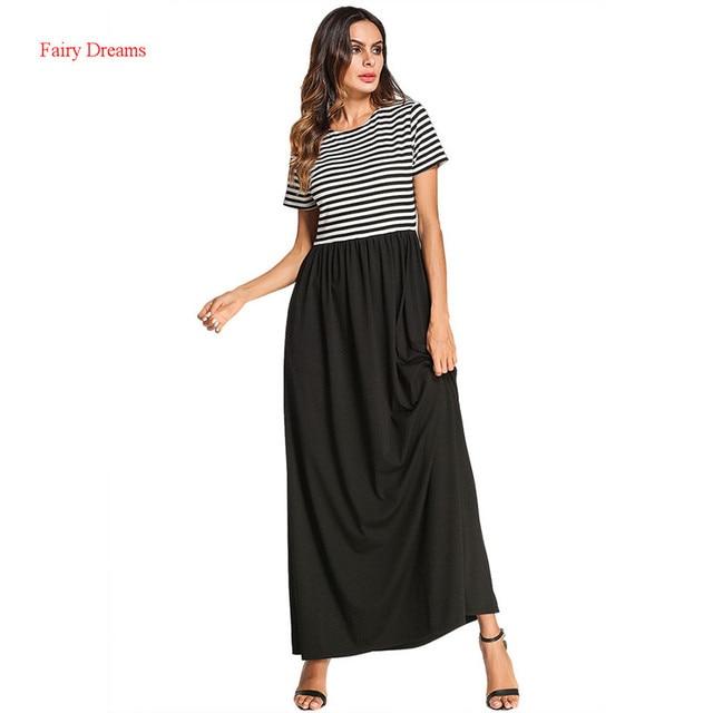 34bdc1c3cd1 Moslim Abaya Dubai Short Sleeve Striped Long Muslim Dress Kaftan Islamic Women  Summer Plus Size Maxi