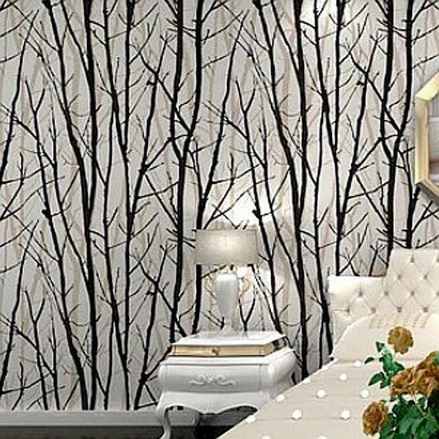 Black White Birch Tree Roll Branches Embossed Wallpaper Dine  Room,Hallway,Bath Room Wall