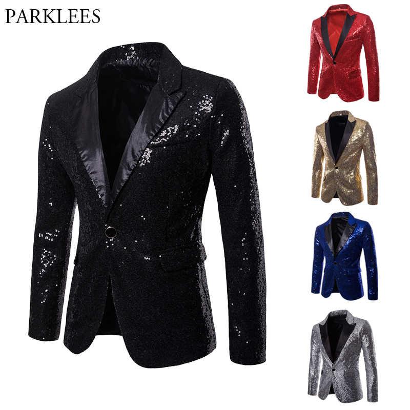 f903022df44 Black Sequin Glitter Embellished Suit Jacket Men 2018 Nightclub Prom One  Button Suit Blazer Male DJ