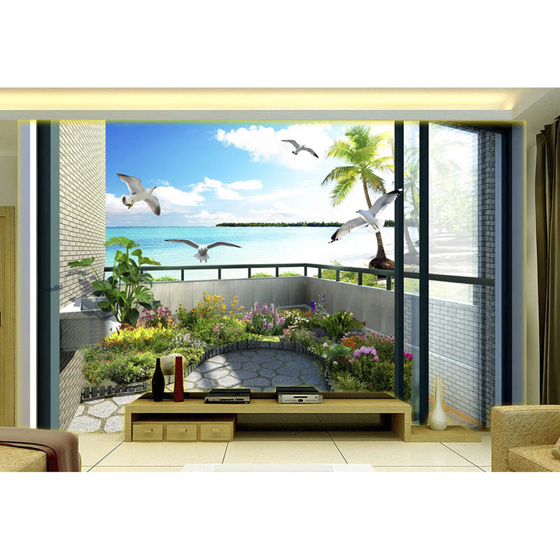Mediterranean Style Houses With Ocean Views: Customized 3D Mural Wallpaper Non Woven Bedroom TV