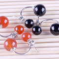 Fashion 1 Pair Silver Plated Natural Red Black Agate Stud Earrings Double Sides Pearl Women Girls Ear Piercing Jewelry Gifts