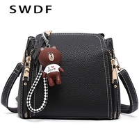 SWDF New Women Quality Shoulder Bags Handbag Patchwork with Bear Candy Color Women Bag Female Ladies Messenger Cross Body Bags