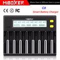 MiBOXER C8 18650 Батарея Зарядное устройство ЖК-дисплей Дисплей 1.5A для батарей Li-Ion (литий-ионных) LiFePO4 Ni-Cd AA 21700 20700 26650 18350 17670 RCR123 18700