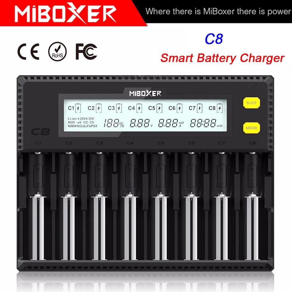 MiBOXER C8 18650 Battery Charger LCD Display 1.5A For Li-ion LiFePO4 Ni-MH Ni-Cd AA 21700 20700 26650 18350 17670 RCR123 18700