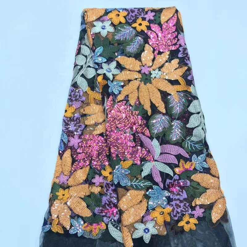 Красивое с блестками кружевное полотно 2019 Роскошная французская чистая кружевная ткань высокого качества Тюль Сетка кружевная Ткань 5 ярдов