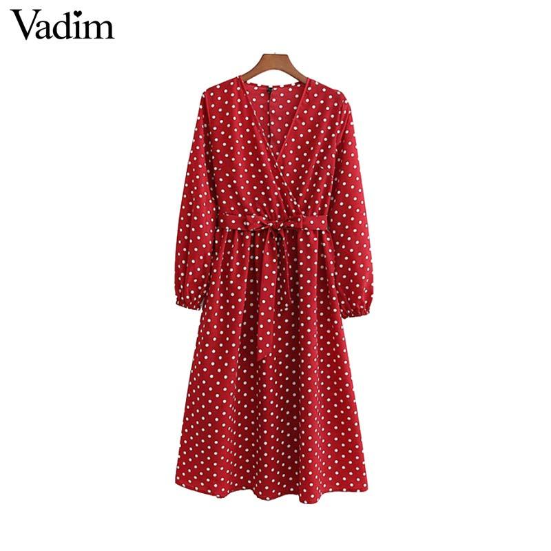 Vadim Women Polka Dot Print Midi Dress V Neck Bow Tie Sashes Long Sleeve Female Fashion Red Mid Calf Dresses Vestidos QB194
