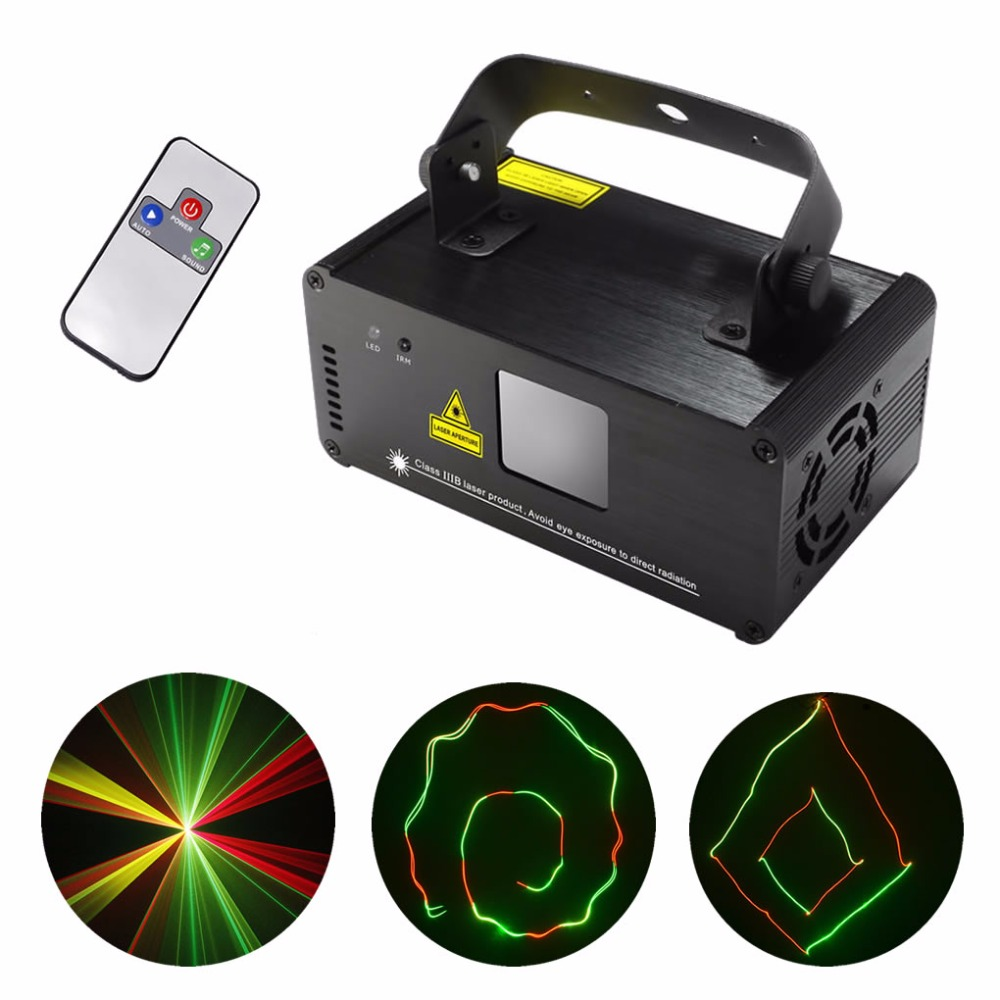 AUCD Mini Remote DMX 200mW RGY Red Green Mix Yellow Laser Stage Lighting Scanner DJ Dance Party Show Projector Light DM-RGY200 rg mini 3 lens 24 patterns led laser projector stage lighting effect 3w blue for dj disco party club laser