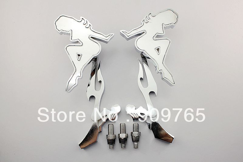 Pair Chrome Skull Stem Motorcycle Mirrors For Harley Softail Honda CBR VT Shadow Kawasaki ZX Suzuki GSXR VL Yamaha R1 VMax Road