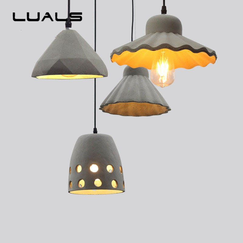 Nordic Industrial Pendant lighting Loft Personality Retro Cement Pendant Lamp For Coffee Bar Pendant Light Contain Edison Bulb retro pendant lamp nordic industrial loft iron pipe pendant light hanging lamp decorative lighting e27 edison bulb 4 head wpl203