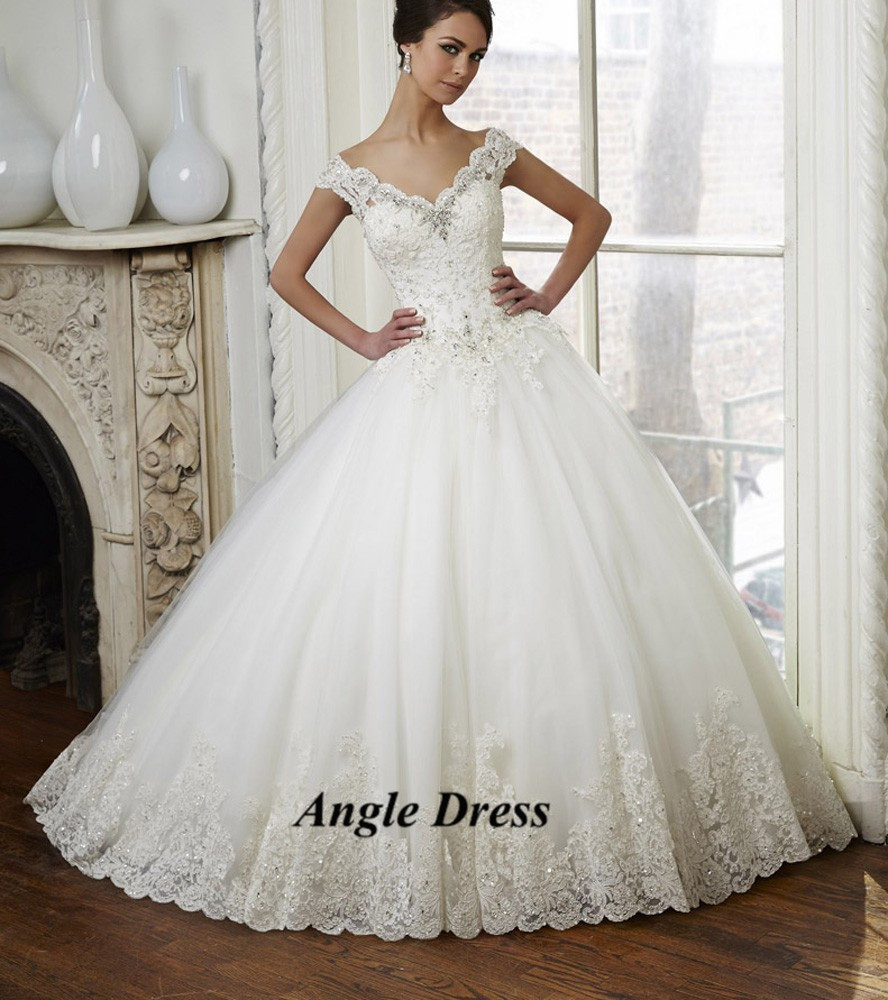Latest Design White Lace Ball Gown Wedding Dresses V Neck Back Cap ...