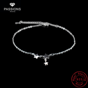 Three Stars Pendant Anklets Bracelet 925 Sterling Silver Simple Charm Star Chain