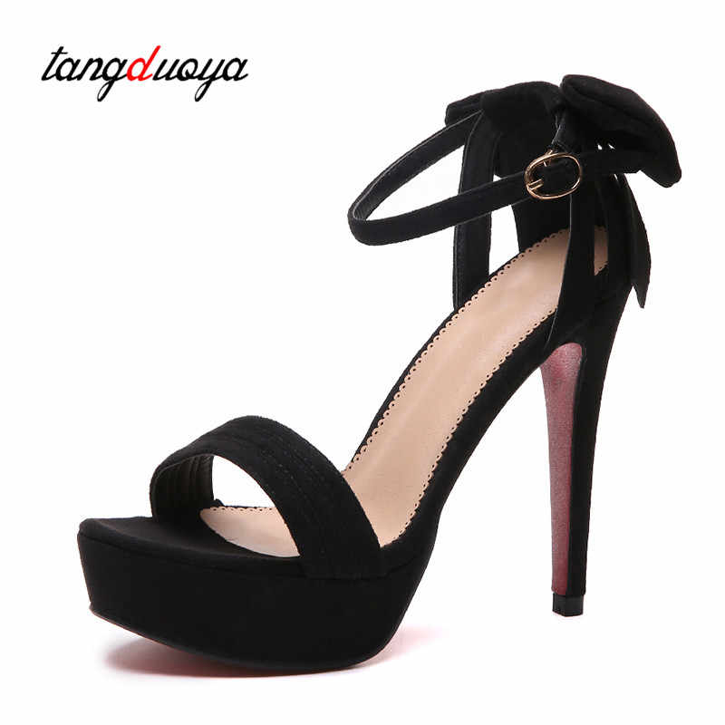 c0bc7abcb6f0 ... bow women shoes high heel sandals platform high heels peep toe pumps  ankle strap shoes thin