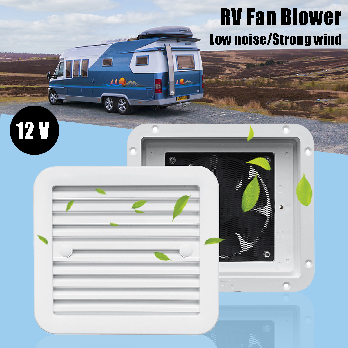 1Pcs 12V RV Trailer Caravan Side Air Vent Ventilation Blade Fan Blower Cooling 3 Types Two-Way One-Way Wind One-Way Mute