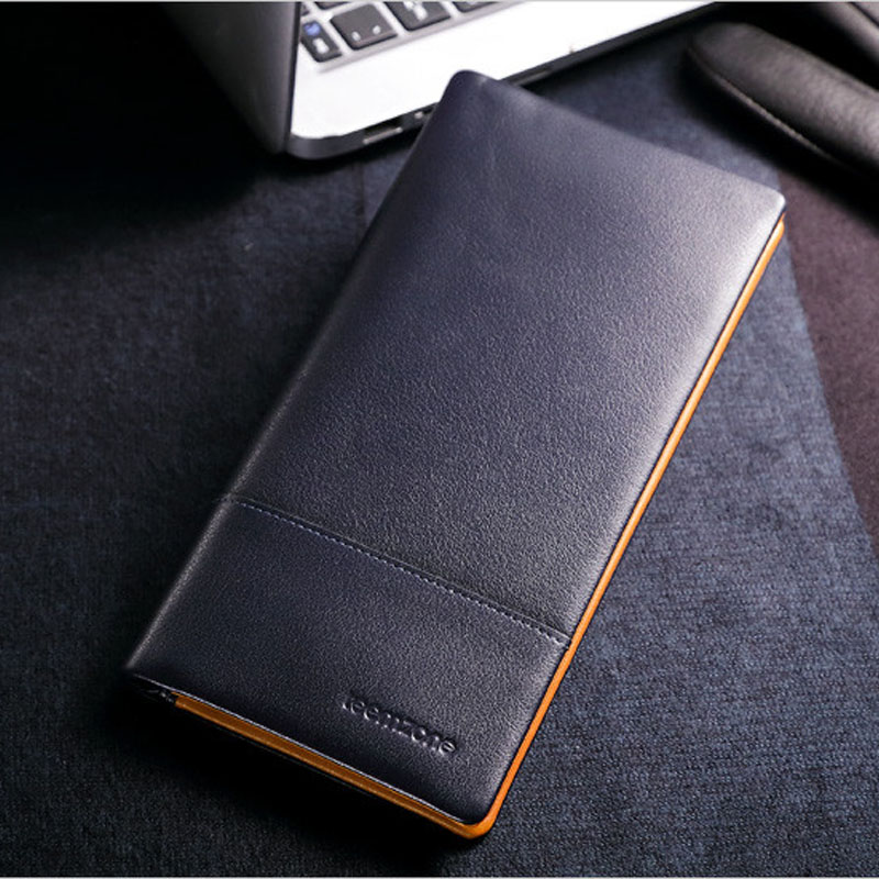Genuine Leather Business Men Long Standard Wallet With Card Holder Blue Cow Leather Multi-capacity Fashion Male Clutch  J10 240 cards large capacity pu leather business card holder card collection book 1493