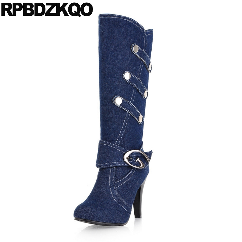 Mid Calf High Heel 11 Autumn Size 10 43 Shoes Metal Plus Slip On 41 Women Big Winter Thick 9 Jeans Blue Denim Boots Round Toe women jeans large size high waist autumn 2017 blue elastic long skinny slim jeans trousers large size denim pants stretch female