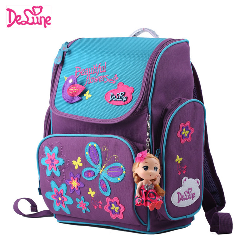 где купить 1-3 Grade Students Delune Brand Kids Cartoon School bags Children Orthopedic Book School Backpacks For Girls Boys School Bags дешево