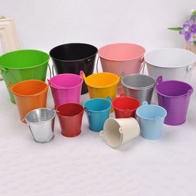 3 Size Pastoral Style Colourful Candy Mini Tin Buckets Floor Hanging Flower Pot Planters Garden Supplies